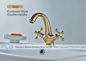 Flg Deck Mounted Basin Faucet, Kitchen Mixer Sink Tap Gold pictures & photos