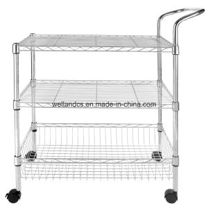 DIY 3 Tier Chrome Wire Shelving Rack for Bar Food Service Trolley pictures & photos