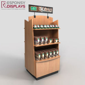 POS MDF Wood Chocolate Display Shelf Permanent Floor Display Rack for Food pictures & photos
