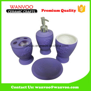 Matt Purple Stoneware Bath Accessories with Soap Dispenser Pump pictures & photos