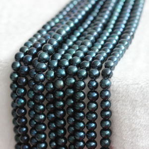 12-15mm AA+ Large Nearly Round Black Freshwater Pearl Strands E180007 pictures & photos