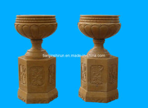 Yellow Marble Urn on Base (5645) pictures & photos
