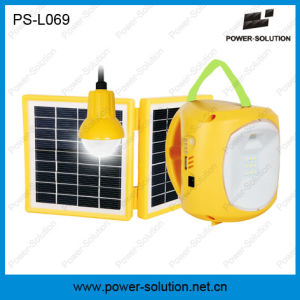 Portable 2*1.7W Solar Panel Lead-Acid Battery Solar Lantern with Mobile Phone Charger with a Bulb pictures & photos
