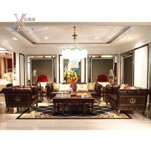Top-Grain Leather European Antique Style Living Room Sofa (E013) pictures & photos
