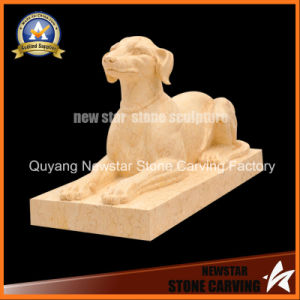 Stone Statue Animal Sculpture Beige Marble Dog pictures & photos