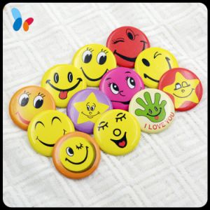 Custom Colorful Meeting Smiling Face Funny Face Metal Pin Round Badge pictures & photos