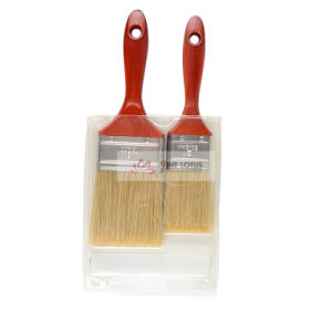 High Quality Wooden Handle with Golden Bristle Paint Brush Set pictures & photos