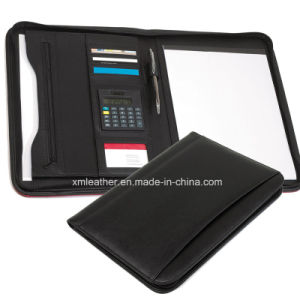 Zip A4 Imitation Leather Folder Compendium with Calculator pictures & photos