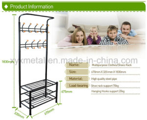 Metal Hat and Coat Clothes Shoes Hall Steel Pipe Stands Stand Rack Hangers Shelf pictures & photos