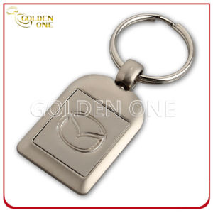 Factory Supply Debossed Matte Nickel Finish Metal Keyring pictures & photos