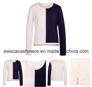 Women′s Color Block Pure Cashmere Sweater A16W-014D pictures & photos