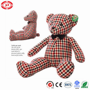 Stuffed Grid Cotton Fabric Teddy Bear Button Eyes Cute Toy pictures & photos