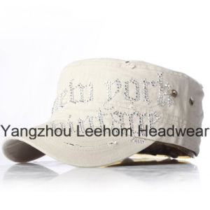 Rhinestones Applique Fashion Blingbling Distressed Washed Military Army Cap pictures & photos