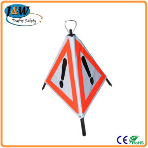 Portable Plastic Warning Sign / Collapsible Tripod Traffic Warning Sign pictures & photos