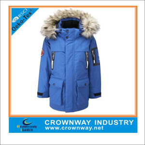 Boys Winter Fur Hooded Parka Jacket with Soft Padding pictures & photos