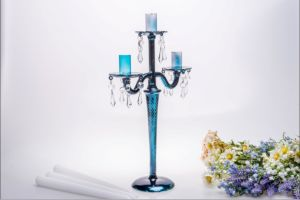 Blue Three Poster Candle Holder for Wedding Decoration pictures & photos