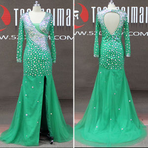Green Rhinestones Tulle Long Sleeve Mermaid Girls Prom Dresses (TM-PD208)