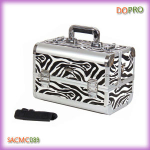 Zebra Printing Makeup Carrying Case Portable Beauty Case with Mirror (SACMC089)