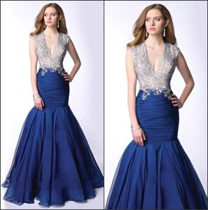 Mermaid Party Prom Gown Sheer Blue Stones Pageant Evening Dresses Y2027 pictures & photos