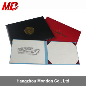 Custom Foil Stamping Grain Leatherette Certificate Holder-Panoramic Style pictures & photos