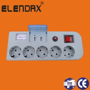 Extension Socket, Surge Protect, Voltage Indicate, Child Protect, Double USB Socket (E2205ES) pictures & photos