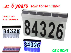 Aluminum Solar House Number Light with Two Color Choice of LED pictures & photos