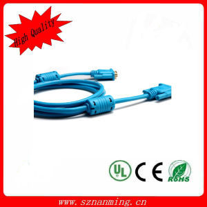 Gold-Plated VGA Male to Male Connection Cable - Transparent Blue pictures & photos