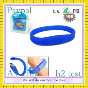 Paypal Payment Custom Logo Silicone 128MB to 32GB USB Bracelet (GC-B012) pictures & photos