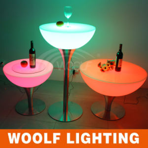 LED Glowing Oval Glass Top Round Dining Tables pictures & photos