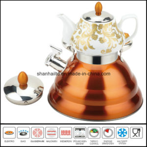 Double Whistle Kettle with Ceramic Teapot Samovar Tea Set pictures & photos