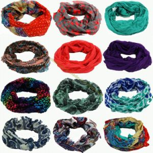 Lady Fashion Voile Loop Scarf Multi Printed Designs in Stock pictures & photos