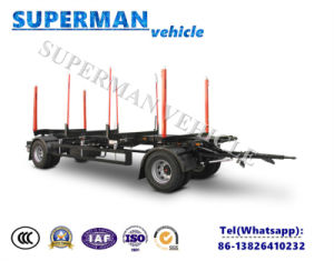 Two Axle Skeletal Drawbar Full Dolly Truck Semi Trailer Wood Carrier pictures & photos
