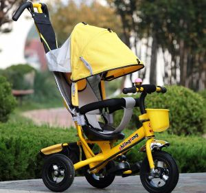 China Good Quality 4 in 1 Pedal Trike, Child Push Tricycle in Yellow pictures & photos