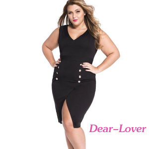 Plus Size Black Military Gold Button Dress pictures & photos