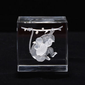 Crystal Cube with 3D Laser Engraving pictures & photos