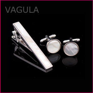 VAGULA New Shell Tie Pin Mother of Pearl Tie Bar Silver Tie Clip Set (T62282) pictures & photos