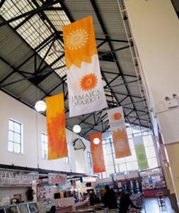 China Indoor Large AdvertisingPromotion Vertical Hang PVC Vinyl - Vertical vinyl banners