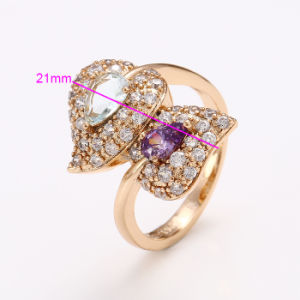 Xuping Fashion Luxury Women Zircon Heart-Shaped 18k Gold-Plated Jewelry Ring 12440 pictures & photos