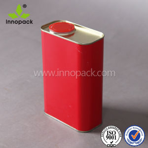 1 Liter Red Square Metal Tin Can with Spout Lid for Oil pictures & photos