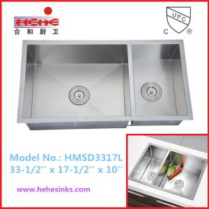 Without Faucet Feature Undermount Stainless Steel Handmade Sink, Handcraft Sink, Kitchen Sink (HMSD3317L) pictures & photos