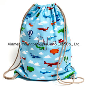 Promotional Custom Printed Kids Cotton Canvas Drawstring Back Pack pictures & photos