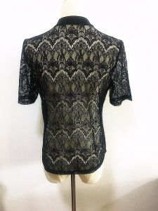 Fashionable Sexy Deep V-Neck Lace Tee Shirt Lady Clothes pictures & photos