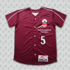 2015 Fashion Button Down Sublimated Custom Baseball Jersey Wholesale pictures & photos