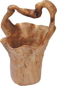 Newest Natural Color #2520 Wooden Handly Carved Large Tall Basket