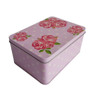Tin Gift Tin Can Rose Design Rectangle Shape for Promotion pictures & photos