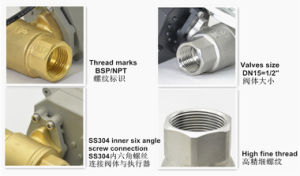 1/2′′ 2 Way NSF61 Ss304 Electric Actuator Ball Valve with Manual Override pictures & photos
