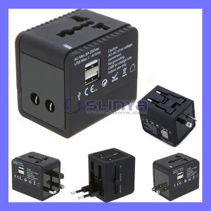 Us EU UK Au Plug 5V 2.1A for iPhone iPad HTC MP3 MP4 100~240V 2 USB Port Worldwide Universal Travel Adapter Wall Charger pictures & photos