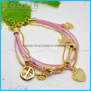 Pink Wire Leather Chain Star Charm Bracelet #31461 pictures & photos