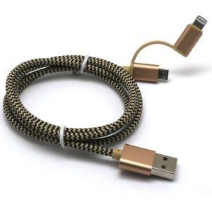 Nylon Braid 2 in 1 USB Cable for iPhone/Samsung pictures & photos