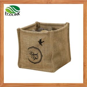 Square Shaped Desktop Jute Storage Bag pictures & photos